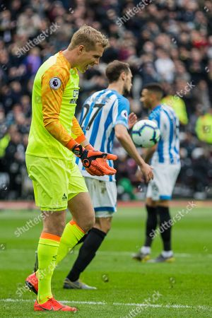 Jonas Lossl (GK) (Huddersfield) following Mark Noble (Capt)(West Ham) goal during the Premier League match between West Ham United and Huddersfield Town at the London Stadium, London