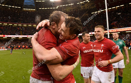 Alun Wyn Jones and Jonathan Davies of Wales celebrates at the end of the game.