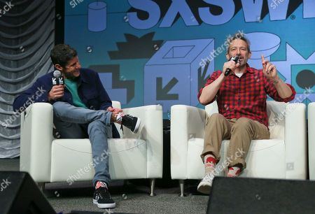 Adam Horovitz, Michael Diamond. The Beastie Boys' Adam Horovitz, right, and Michael Diamond take part in a keynote conversation at the Austin Convention Center during the South by Southwest Music Festival, in Austin, Texas
