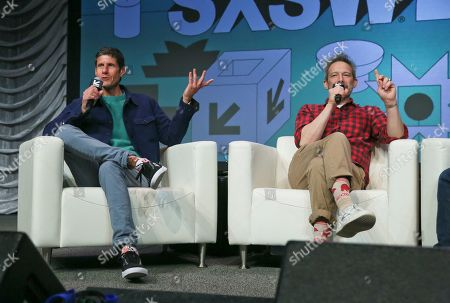 Stock Picture of Adam Horovitz, Michael Diamond. The Beastie Boys' Adam Horovitz, right, and Michael Diamond take part in a keynote conversation at the Austin Convention Center during the South by Southwest Music Festival, in Austin, Texas
