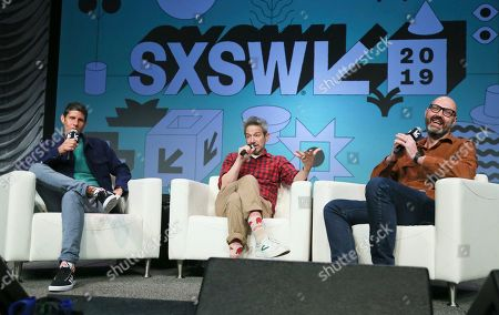 Michael Diamond, Adam Horovitz, Nathan Brackett. Amazon Music's Nathan Brackett, right, moderates a keynote with The Beastie Boys' Michael Diamond, left, and Adam Horovitz at the Austin Convention Center during the South by Southwest Music Festival, in Austin, Texas