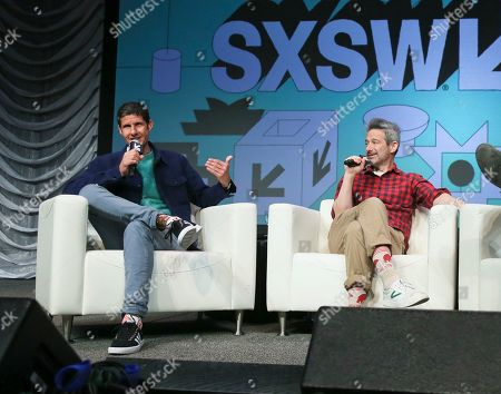 Stock Image of Adam Horovitz, Michael Diamond. The Beastie Boys' Adam Horovitz, right, and Michael Diamond take part in a keynote conversation at the Austin Convention Center during the South by Southwest Music Festival, in Austin, Texas