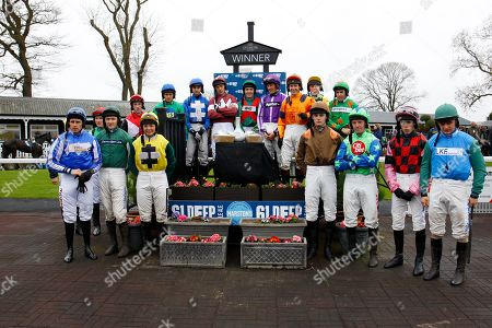 The jockeys line up before the Midlands National at Uttoxeter won by Potters Corner and James Bowen.