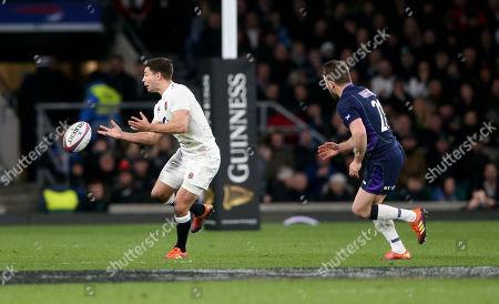 Ben Youngs of England & Josh Strauss of Scotland
