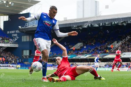 Yohan Benalouane of Nottingham Forest produces a well time challenge to prevent Collin Quaner of Ipswich Town making forward progress during Ipswich Town vs Nottingham Forest, Sky Bet EFL Championship Football at Portman Road on 16th March 2019