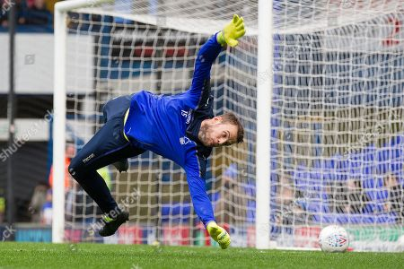 Stock Image of Luke Steele of Nottingham Forest at full stretch in the warm up during Ipswich Town vs Nottingham Forest, Sky Bet EFL Championship Football at Portman Road on 16th March 2019