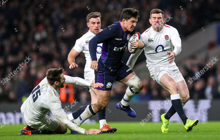 England vs Scotland. Scotland's Sam Johnson scores a try despite Elliot Daly, George Ford and Ben Spencer of England