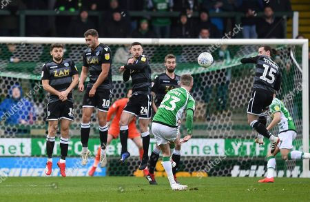Tom James of Yeovil Town hits a free kick high and wide