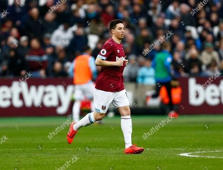 Samir Nasri of West Ham United comes on for  Mark Noble of West Ham United