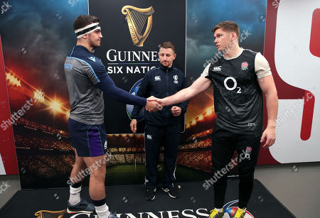 England vs Scotland. Scotland's Stuart McInally and England's Owen Farrell with referee Paul Williams at the coin toss