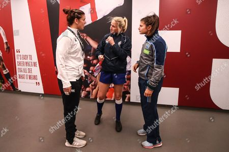 Stock Picture of England Women vs Scotland Women. England's Sarah Hunter and Scotland's Lisa Thomson with referee Joy Neville at the coin toss