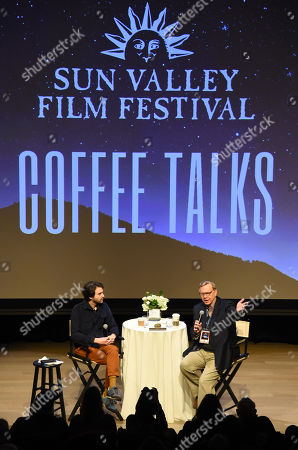 Alex Ross Perry and moderator George Prentice during the 2019 Sun Valley Film Festival Coffee Talk with Alex Ross Perry presented by Ford held at the Argyros Theatre in Sun Valley, ID