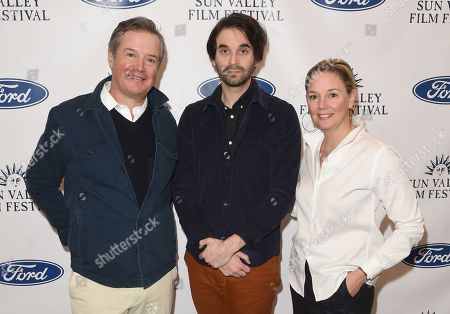Alex Ross Perry, SVFF Director Candice Pate, and SVFF Executive Director Teddy Grennan attend the 2019 Sun Valley Film Festival Coffee Talk with Alex Ross Perry presented by Ford held at the Argyros Theatre in Sun Valley, ID
