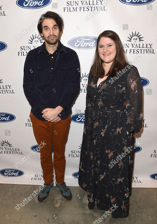 Alex Ross Perry is presented with the Rising Star Award with Laura Mehlhaff during the 2019 Sun Valley Film Festival Coffee Talk with Alex Ross Perry presented by Ford held at the Argyros Theatre in Sun Valley, ID