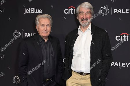 """Martin Sheen, Sam Waterston. Martin Sheen, left, and Sam Waterston attend the 36th Annual PaleyFest """"Grace and Frankie"""" at the Dolby Theatre, in Los Angeles"""