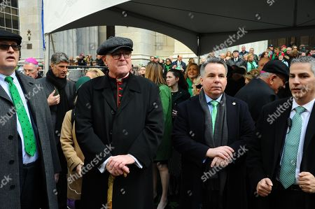 Stock Photo of Catholic Archbishop of New York Archbishop Timothy Dolan walk in the 2019 Saint Patrick's Day Parade, held along Fifth Avenue in New York City