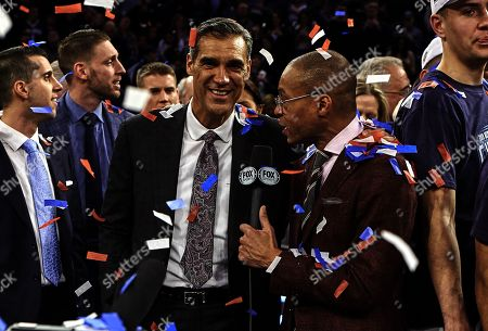 Stock Image of New York, New York, U.S. - Villanova Wildcats head coach Jay Wright is all smiles after Villanova defeated Seton Hall 74-72 for the Big East Championship at Madison Square Garden in New York City