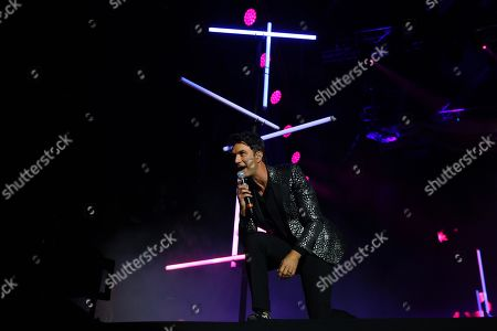 Leonardo de Lozanne of the band Fobia performs on stage during the Vive Latino Festival during its twentieth edition in Mexico City, Mexico, 16 March 2019.