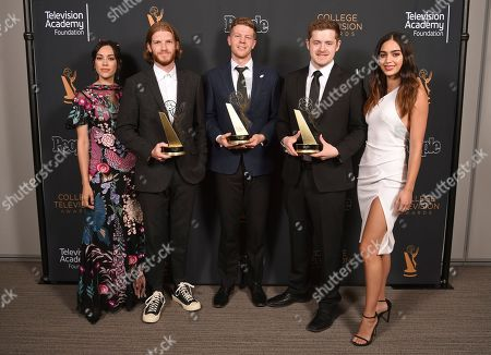 """Jedediah Thunell, Anthon Chase Johnson, Scott James, Mishel Prada, Melissa Barrera. Mishel Prada, left, and Melissa Barrera, right, pose with Jedediah Thunell, from left, Anthon Chase Johnson, Scott James of Brigham Young University pose for a portrait with the Commercial, PSA or Promo award for """"GE- One More Giant Leap"""" at the 39th College Television Awards presented by the Television Academy Foundation at the Saban Media Center, in the NoHo Arts District in Los Angeles"""
