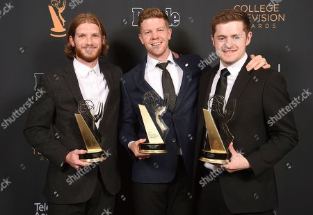 """Jedediah Thunell, Anthon Chase Johnson, Scott James. Jedediah Thunell, from left, Anthon Chase Johnson and Scott James, of Brigham Young University, winners of the Commercial, PSA or Promo award for """"GE- One More Giant Leap pose for a portrait at the 39th College Television Awards presented by the Television Academy Foundation at the Saban Media Center, in the NoHo Arts District in Los Angeles"""