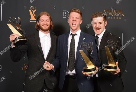 """Jedediah Thunell, Anthon Chase Johnson, Scott James. Jedediah Thunell, from left, Anthon Chase Johnson, Scott James of Brigham Young University pose for a portrait with the Commercial, PSA or Promo award for """"GE- One More Giant Leap"""" at the 39th College Television Awards presented by the Television Academy Foundation at the Saban Media Center, in the NoHo Arts District in Los Angeles"""
