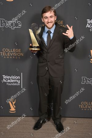 "Chris Violette of Florida state University poses for a portrait with the Loreen Arbus Focus on Disability Scholarship award for ""Woman of Steel"" at the 39th College Television Awards presented by the Television Academy Foundation at the Saban Media Center, in the NoHo Arts District in Los Angeles"