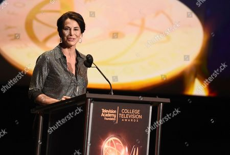 Giselle Fernandez presents the award for News at the 39th College Television Awards presented by the Television Academy Foundation at the Saban Media Center, in the NoHo Arts District in Los Angeles