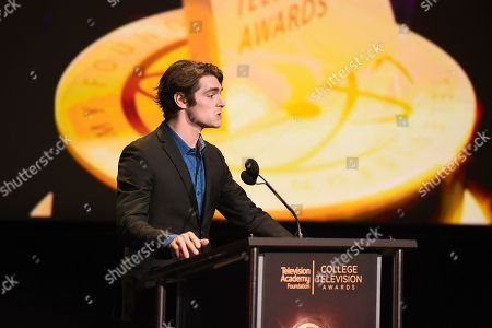 RJ Mitte presents the Loreen Arbus Focus on Disability Scholarship at the 39th College Television Awards presented by the Television Academy Foundation at the Saban Media Center, in the NoHo Arts District in Los Angeles