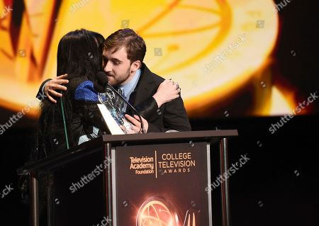 "Loreen Arbus, Chris Violette. Loreen Arbus, left, presents Chris Violette of Florida state University with the Loreen Arbus Focus on Disability Scholarship award for ""Woman of Steel"" at the 39th College Television Awards presented by the Television Academy Foundation at the Saban Media Center, in the NoHo Arts District in Los Angeles"