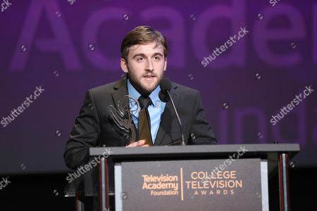 """Stock Photo of Chris Violette of Florida state University accepts the Loreen Arbus Focus on Disability Scholarship award for """"Woman of Steel"""" at the 39th College Television Awards presented by the Television Academy Foundation at the Saban Media Center, in the NoHo Arts District in Los Angeles"""