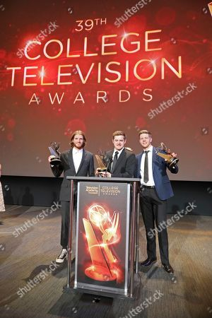 """Jedediah Thunell, Scott James, Anthon Chase Johnson. Jedediah Thunell, from left, Scott James and Anthon Chase Johnson, of Brigham Young University, winners of the Commercial, PSA or Promo award for """"GE- One More Giant Leap"""" pose for a photo at the 39th College Television Awards presented by the Television Academy Foundation at the Saban Media Center, in the NoHo Arts District in Los Angeles"""
