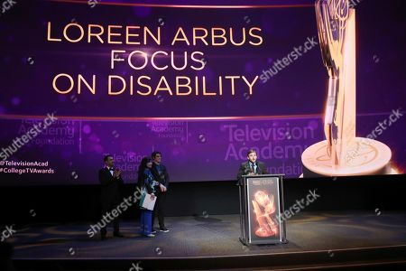 "Chris Violette of Florida state University accepts the Loreen Arbus Focus on Disability Scholarship award for ""Woman of Steel"" at the 39th College Television Awards presented by the Television Academy Foundation at the Saban Media Center, in the NoHo Arts District in Los Angeles"