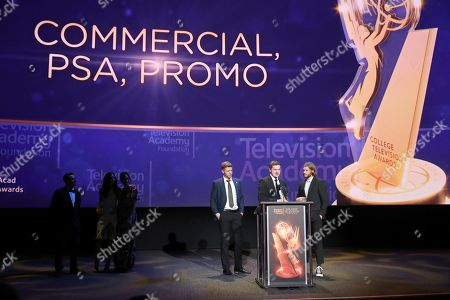 """Anthon Chase Johnson, Scott James, Jedediah Thunell. Anthon Chase Johnson, from left, Scott James and Jedediah Thunell, of Brigham Young University, accept the Commercial, PSA or Promo award for """"GE- One More Giant Leap"""" at the 39th College Television Awards presented by the Television Academy Foundation at the Saban Media Center, in the NoHo Arts District in Los Angeles"""