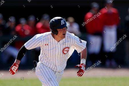 Austin Peay's John McDonald runs to first base during an NCAA college baseball game against Tennessee Tech, in Clarksville, Tenn