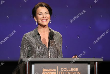 Giselle Fernandez speaks at the 39th College Television Awards presented by the Television Academy Foundation at the Saban Media Center, in the NoHo Arts District in Los Angeles