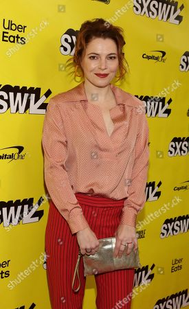 """Amy Seimetz arrives for the world premiere of """"Pet Sematary"""" at the Paramount Theatre during the South by Southwest Film Festival, in Austin, Texas"""
