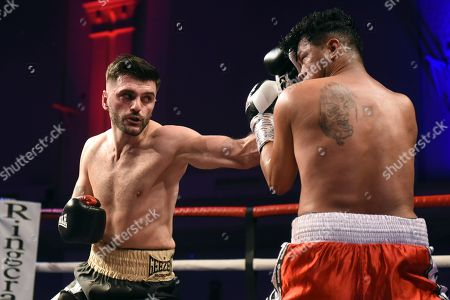 Ermal Dida (black shorts) defeats Miguel Aguilar during a Boxing Show at the Corn Exchange on 16th March 2019
