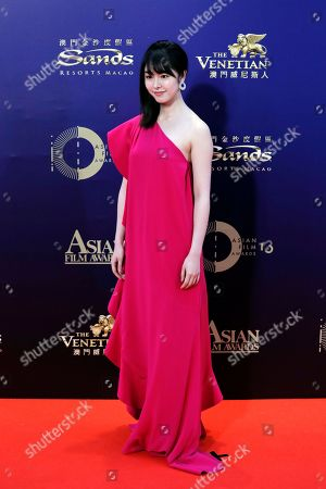 Stock Photo of Japanese actress Erika Karata poses on the red carpet of the Asian Film Awards in Hong Kong