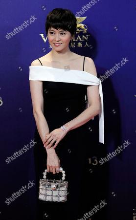 Hong Kong actress Gigi Leung poses on the red carpet of the Asian Film Awards in Hong Kong