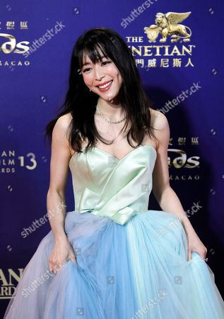 Chinese actress Zhang Jingchu poses on the red carpet of the Asian Film Awards in Hong Kong