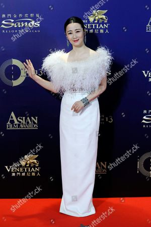 Chinese actress Zhao Tao poses on the red carpet of the Asian Film Awards in Hong Kong