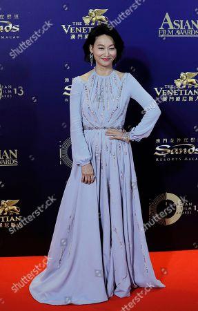 Hong Kong actress Kara Wai poses on the red carpet of the Asian Film Awards in Hong Kong
