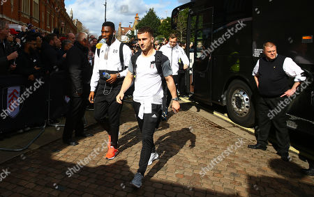 Timothy Fosu Mensah and Joe Bryan of Fulham arrives before kick off