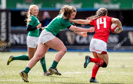 Wales vs Ireland. Wales' Jasmine Joyce with Enya Breen of Ireland