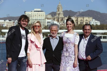 "Fernando Colomo (C) poses with actors and cast members Salva Reina (L), Maggie Civantos (2L), Manuela Velasco (2R) and Joaquín Nunez during the presentation of his film '""Antes de la quema' (Lit: Before the burning) at the Malaga Film Festival, in Malaga, Spain, 17 March 2019. The Malaga Film Festival will take place from 15 to 24 March."