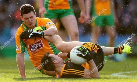 Corofin vs Dr. Crokes. Dr. Crokes' John Payne collides with Dylan Wall of Corofin, the collision resulted in a straight red card