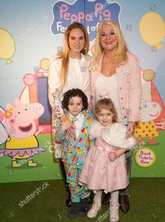 Stock Photo of Allegra Kurer with children Zeke and Neroli and Vanessa Feltz