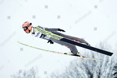 Stefan Kraft of Austria in action during the Flying Hill event of the FIS Ski Jumping World Cup in Vikersund, Norway, 17 March 2019.