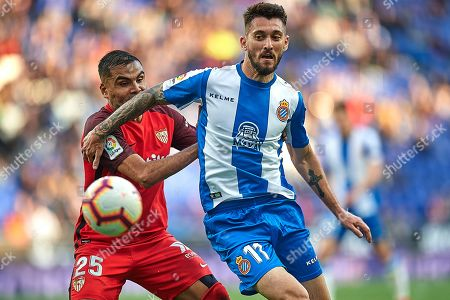 Facundo Ferreyra of RCD Espanyol and Gabriel Mercado of Sevilla FC