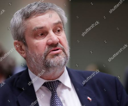President of European Agriculture council Romanian minister Petre Daea speaks during a European Agriculture and Fisheries council in Brussels, Belgium, 18 March 2018.